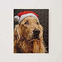 大人と子供のための木製のジグソーパズル500ピースゴールデンレトリバーのクリスマスのポーズジグソーパズル面白いパズル減圧おもちゃのギフト家の装飾15×20.5インチ