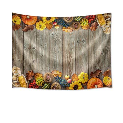 ALLdelete# Tapiz de otoño, Fondo de tablones de Madera con Frutas, Cereales, Hojas caídas, Tapiz para Colgar en la Pared, Cosecha de otoño, decoración de Pared, Tapiz, decoración de 80 x 60 Pulgadas