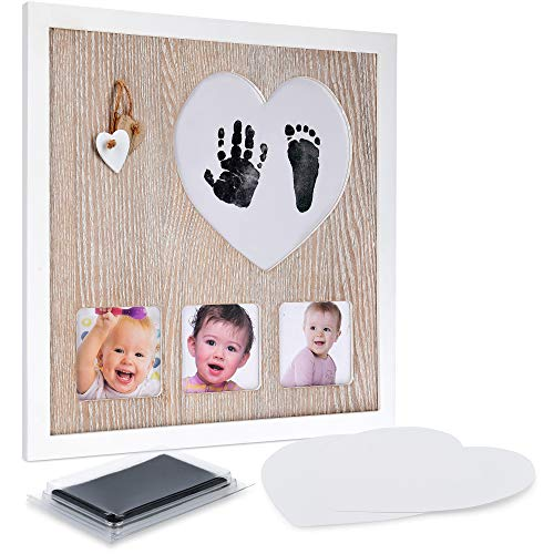 Navaris Kit para huellas de bebé - Set de marco de fotos con almohadilla de tinta para huella del pie o mano de recién nacido - Cuadro de recuerdo