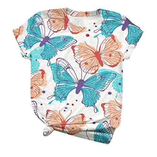 ZHANGYY Camiseta Estampada con Cuello en V de Manga Corta para Mujer (múltiples gráficos Disponibles) Camiseta con Estampado de Mariposas Papillon Butterflies