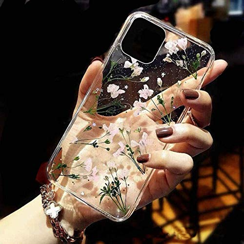 Feibili Compatible with iPhone 12/12 Pro Flower Case, Soft Clear Flexible Rubber Pressed Dry Real Flowers Case Girls Glitter Floral Cover for iPhone 12/12 Pro (Pink)