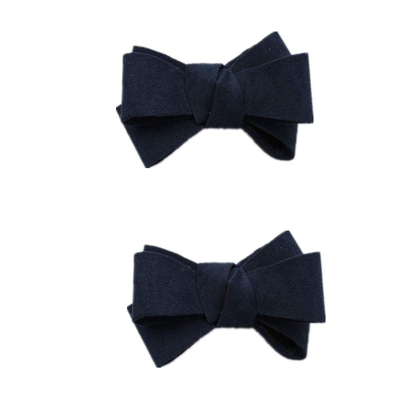 Douqu Assorted Color Fashion Leather Bow Shoes Clips Velvet Decorative Shoe Accessories Shoe Clip Charms (Navy)