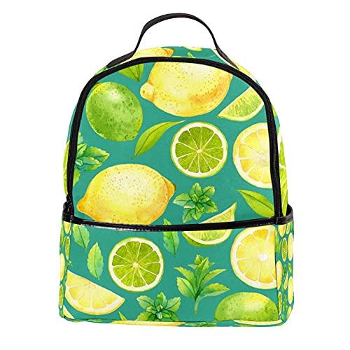 FURINKAZAN Mochila de viaje de moda de cuero de la PU del verde de la fruta del limón mini