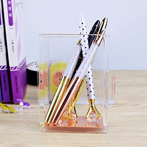 Rose Gold Acrylic Gold Pen Pencil Holder, Desktop Stationery Organizer,Office Desk Accessory