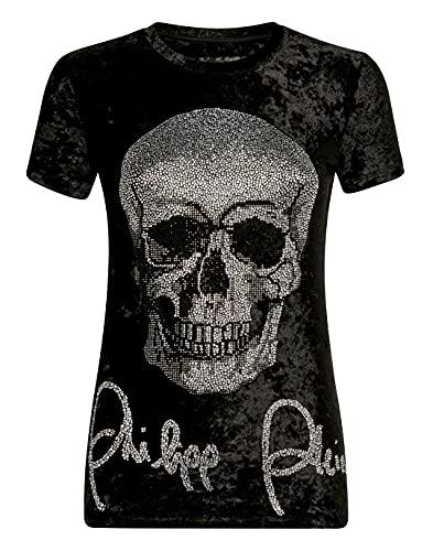 Philipp Plein Femenino T-Shirt Round Neck SS Skull Negro X-Small