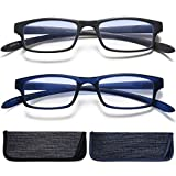 Reading Glasses Neck Hanging Readers - 2 Pairs Blue Light Blocking Computer Eyeglass +2.25 Glare Blocking Readers for Men and Women