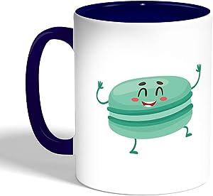 كوب سيراميك للقهوة، لون ازرق، بتصميم اطعمة - برجر