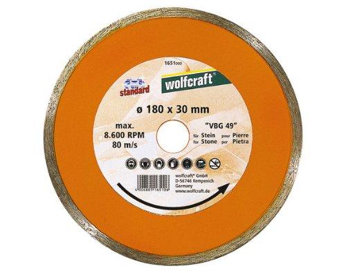 Wolfcraft 1651000 Diamant-Trennscheibe, mit geschlossenem Rand Ø 180 x 30/ 25, 4