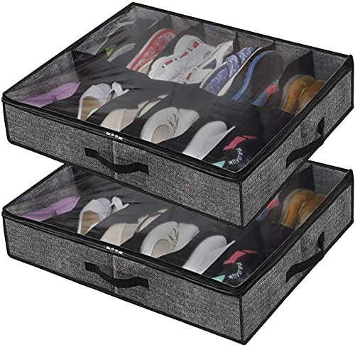 artizan Cómoda de malteado para Zapatos con Tapa Transparente - Bolsa de Almacenamiento de Zapatos Caja de Almacenamiento Fuerte para Almacenamiento de Zapatos con 12 Compartimentos, Gris Negro