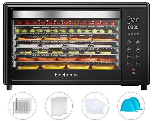 Elechomes 8-Tray Food Dehydrator Machine, 304 Stainless Steel Dryer with 9-Piece Free Accessories, 4 Presets Commercial Dehydrator for Fruit, Meat Beef Jerky, Herbs, Vegetables, Digital Timer and Temperature Control, 50 PDF Recipes, BPA Free