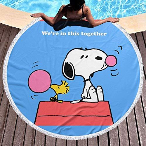 NULLYTG toalla de playa redonda grande Snoopy toalla de playa manta con borlas ultra suave super absorbente de agua multiusos playa manta 59 pulgadas