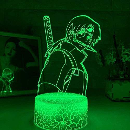 3D Anime LED Lámpara para Niños Ilusión Naruto Luz Anime Naruto Uchiha Itachi Luz para Niño Niño Regalo de Cumpleaños Sasuke Lámpara 7 Colores Luz de Noche Lámpara Táctil
