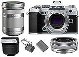 Olympus OM-D E-M5 Mark III Mirrorless Digital Camera Body (Silver) + M.Zuiko Digital ED 14-42mm f/3.5-5.6 EZ Lens (Silver) + M.Zuiko Digital ED 40-150mm f/4-5.6 R Lens (Silver)