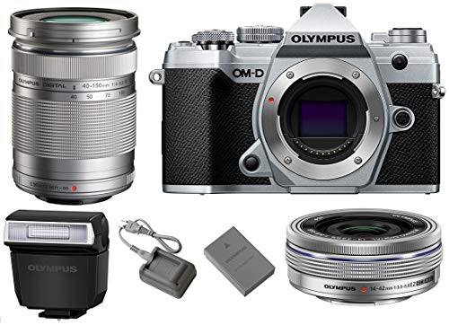 Olympus OM-D E-M5 Mark III Mirrorless Digital Camera Body (Silver) + M.Zuiko Digital ED 14-42mm f/3.5-5.6 EZ Lens (Silver) + M.Zuiko Digital ED 40-150mm f/4-5.6 R Lens (Silver)