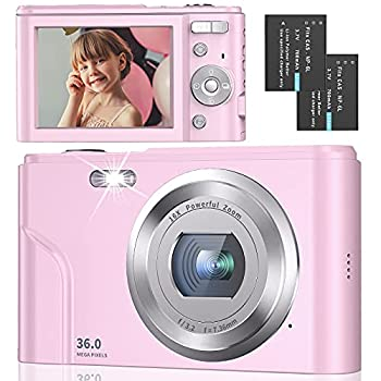 Digital Camera Full HD 1080P 36MP 2.4 Inch Vlogging Camera with 16X Digital Zoom Point and Shoot Camera Pocket Camera Compact Camera with LED Fill Light for Kids/Teens/Students/Beginners  Pink