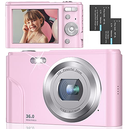 Digital Camera Full HD 1080P 36MP 2.4 Inch Vlogging Camera with 16X Digital Zoom, Point and Shoot Camera Pocket Camera Compact Camera with LED Fill Light for Kids/Teens/Students/Beginners (Pink)