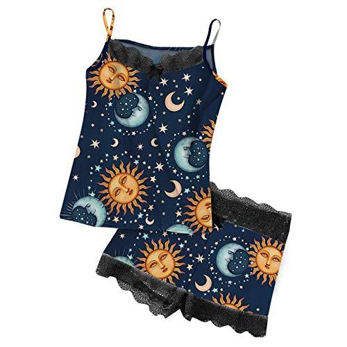 HCOO Sexy Unterwäsche Frau Nachthemd Ärmellos Damen Dessous Damen Pyjama Frau Nachtwäsche Sommer Unter Geführt Damen Pantys Set Schlafanzughose Damen (H1-Schwarz,L)