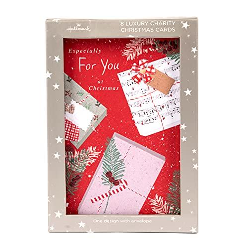 Biglietti di Natale di beneficenza di lusso di Hallmark – Confezione da 8 in 1 stile Scrapbook Design festivo
