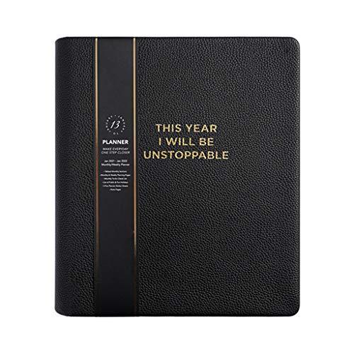 Sayletre B5 English Thicken Notebook Journal Diario Semanal Agenda 2021 Planificador Organizador Cuero Escuela Material de Oficina Papelería