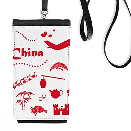 DIYthinker Gehen wir zu China Bambus-Laterne Peacock Flugzeug Teekanne Baum Kunstleder Smartphone hängende Handtasche Schwarze Phone Wallet Geschenk Mehrfarbig