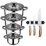 San Ignacio Bateria de cocina 8 piezas apta para induccion Hita en acero inoxidable con set de 3 cuchillos en acero inoxidable con barra magnetica aptas para induccion, PK3223