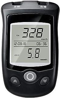 FJLOVE Medidor de glucosa en Sangre y ácido úrico 2 en 1 Gran Pantalla Digital LCD con 50 Tiras Prueba sin código,50 x Tira Prueba de ácido úrico,1 Pluma recolección Sangre