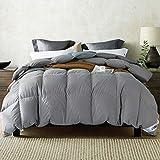 Amazon Brand - Umi Edredón nórdico de Pluma y plumón de Ganso con Funda 100% de algodón Impermeable (10,5 TOG, King Size, Color Gris)