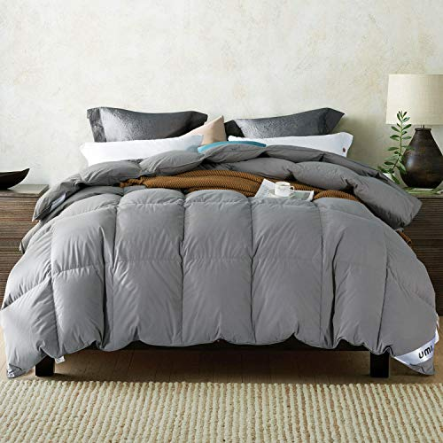 UMI. Essentials White Goose Feather and Down Duvet with 100% Cotton Down-Proof Fabric (10.5 Tog, Single,Grey)