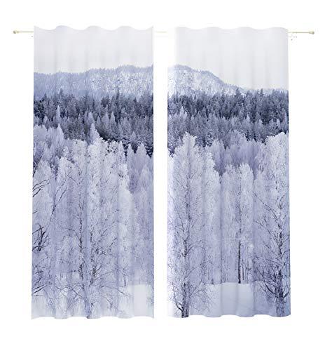 Rideaux occultants 2 x 145 x 260 cm avec l'hiver dans la taïga Impression numérique Isolation Thermique Chambre à Coucher 2 Panneaux