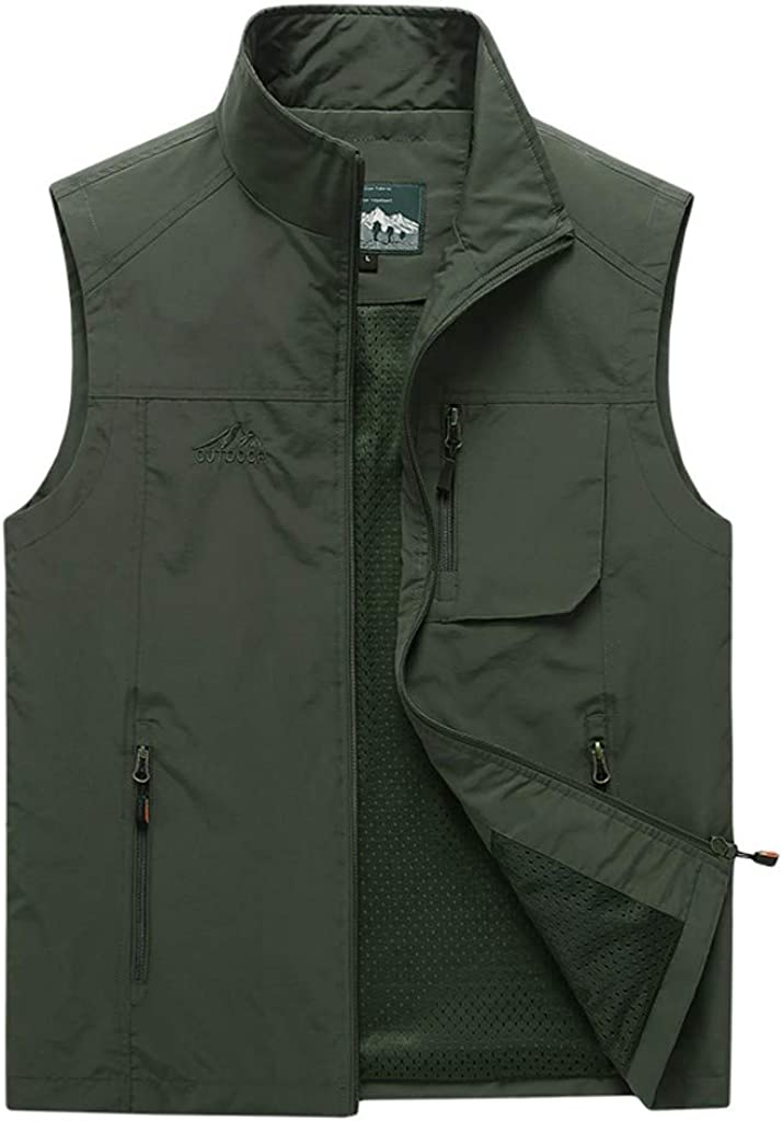 NREALY Fashion Men Casual Solid Outdoor Quick-Drying Vest Jacket Blouse