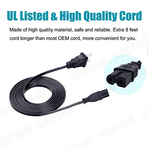 UL Listed AC Power Cord for Bose Wave Music System III IV AWRCC1 II CD-3000 CD-2000 AM/FM Radio CD Player Replacement 8ft AC Cable