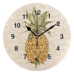 Jojogood Hand Drawn Pineapple Clock Wall Decor Acrylic Decorative Round Clock for Home Bedroom Living Room Art