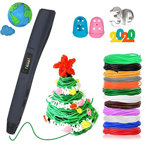 3D Pen, Rilitor Intelligent 3D Printing Pen Drawing Printer with 12 PLA Filament Refills 8 Speed Printing Temperature Control Simple Handled 3D Printer Pen for Arts Crafts Kids Adults Gift