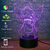 Stitch Doll 3D Visual LED Night Lights 7 Color Changing USB Touch Remote Control Cartoon Desk Table Lamp for Baby Sleeping Bedside Decor Kids Gift Toys