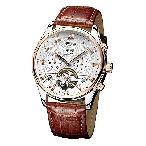 Homme Montres - Tourbillon - montre mécanique automatique - Bracelet Cuir (Brown)