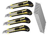 LEDLUX 4 Kit Taglierino Professionale 18mm,Cutter Taglierino Per Carta, 8 Lame di Ricambio...