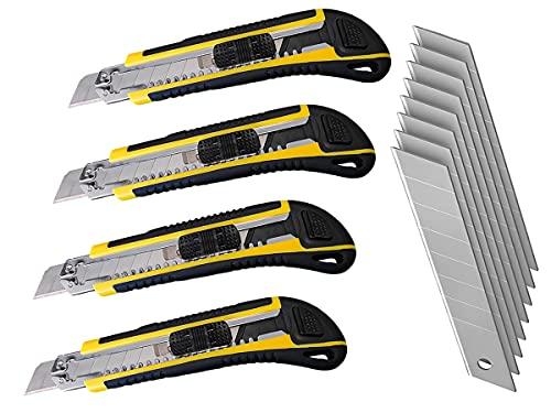 LEDLUX 4 Kit cutter profesional de 18 mm, cortador de papel, 8 cuchillas de repuesto para cortador ✅
