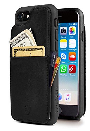 Cover iPhone Vaultskin ETON ARMOUR con spazio per carte e banconote, ultra sottile, in vera pelle, contiene fino a 8 tessere (iPhone 7/8, Nero)