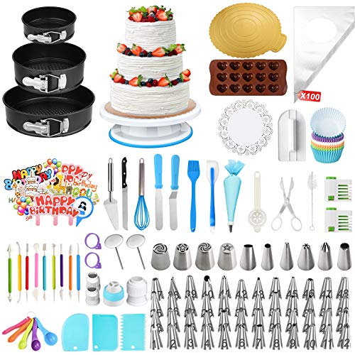 Cake Decorating Kit - OCOOKO 379 Pcs Cake Baking Supplies with Springform Cake Pans Set,Cake Rotating Turntable 48 Icing Piping Tips with Pattern Chart for Beginner and Cake-Lover