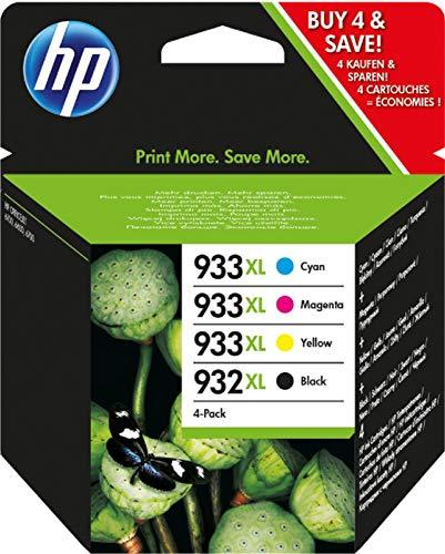 HP Multi Pack 932XL-933XL C2P42AE Confezione da 4 Cartucce Originali ad Alta Capacità, per Stampanti HP OfficeJet