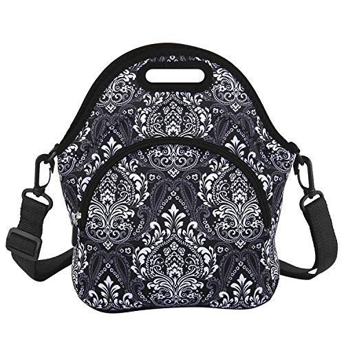 Black Neoprene Lunch Bag Insulated Lunch Tote Waterproof Vintage Design with Zipper Pocket and Detachable Strap for Women Men Boys Girls Work School Office Picnic