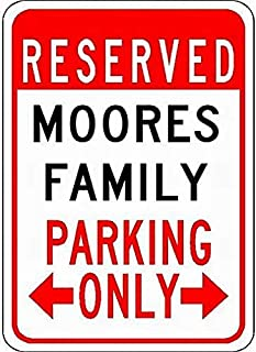 Ufcell Metal Signs Moores Family Parking - Customized Last Name - 8X12 Tin Street Sign Decor