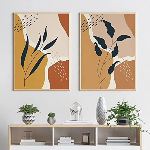 Arte de pared neutral abstracto floral cartel botánico lienzo pintura moderna impresión minimalista pared imagen Boho decoración del hogar 50x70cmx2 sin marco