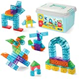 Play Brainy 101 Pieces Magnetic Cubes for Kids - 3D Building Blocks Set with Transparent Blocks in Varying Shapes and Colors - STEM-Approved Learning Toys for Kids Ages 3 and Up - Storage Box Included