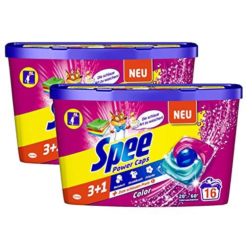 Spee Power Caps Color 3+1, Colorwaschmittel, 32 (2 x 16) Waschladungen, Reinheit, Strahlkraft und Frische für deine Buntwäsche zum schlauen Preis, 20-60°