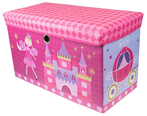 Clever Creations Fairytale Princess Castle Collapsible Storage Organizer Storage Ottoman for Bedroom and Living Room| Perfect Size Chest for Books, Clothes, Electronics, and Gadgets