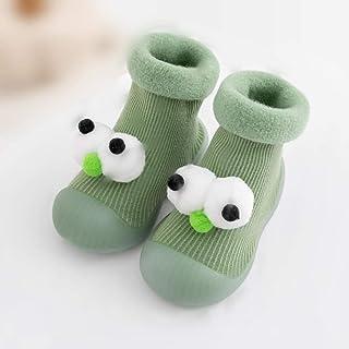 Gogh, Calcetines de interior para niños y niñas con suela de goma antideslizante e impermeable, calcetines mullidos para bebés, color verde, XL