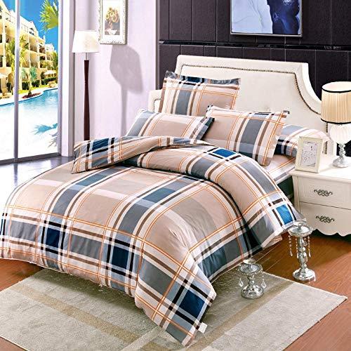 Nianmei beddengoedset van katoen, bedrukt, dekbedovertrek, kussensloop, 4-delig, eenpersoonsbed voor tweepersoonsbedden, kinderen, volwassenen, 160 x 210 cm