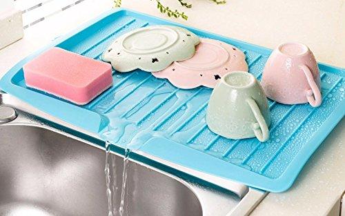 Anqeeso drainage Plateau de plats d'évier de cuisine filtre plastique plaque de stockage de palettes pliables étagère Rack