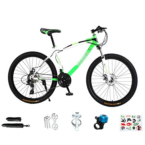 @Y.T Mountainbike für Erwachsene, Vorderradgabel Doppelstoßdämpfung Rahmen aus Kohlenstoffstahl 30-Gang-Profi-Doppelscheibenbremse 24/26 Zoll